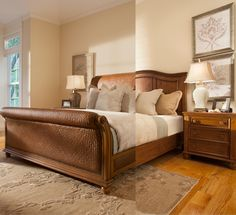 The Claire sleigh bed comes in coastal woven or classic wood with beautiful recessed paneling.