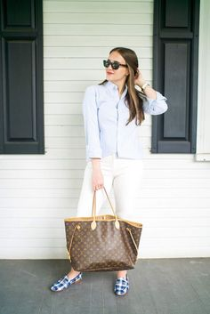 White Pants for the Office (J. Crew Cameron Four Season Pant Review) | Louis Vuitton Tote