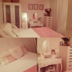So happy with my new room and dressing table😇😍 #bedroom #white #girly #babypink #cute #roominspiration #dressingtable #tidy #organised #clean
