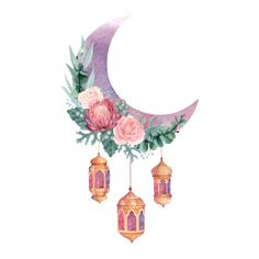 Watercolor Crescent Moon with Flowers and Lantern illustration, Islamic Decoration Perfect for Ramadan or Eid Al-Fitr - Buy this stock vector and explore similar vectors at Adobe Stock Tarjetas Ramadan, Ramadan Cards, Ramadan Greetings, Ramadan Gifts, Islam Ramadan, Eid Al Fitr, Ramadan Kareem Pictures, Ramadan Images, Eid Wallpaper