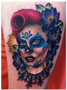 Day of the dead (día de los muertos) pinup by Megan Massacre....her use of colour is fantastic!