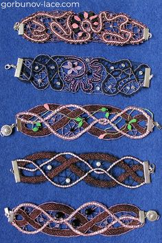 Lace bracelets made in tape bobbin lace technique Russian bobbin lace Natural silk, mulina, beads, stones Cloth stitch, tally, plait Pattern for lace making is available on our website Lace Bracelet, Bracelets, Bobbin Lace Patterns, Lacemaking, Bracelet Making, Stitch, Personalized Items, Beads, Plait