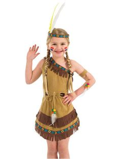 Niña India Fancy Dress Cowboys & Indians Western CHILDS Niños Disfraz Traje Nuevo