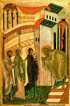 Presentation of Our Lord and Savior Jesus Christ into the Temple Jesus In The Temple, Lucas 2, Liturgical Seasons, Gospel Of Luke, Russian Icons, Byzantine Icons, Blessed Virgin Mary, Orthodox Icons, Medieval Art
