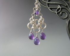 Japanese Chain Maille Earrings with Amethyst