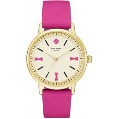 Kate Spade Crosby Rose Goldtone Stainless Steel and  Silicone Strap... ($150) ❤ liked on Polyvore featuring jewelry, watches, accessories, pink, stainless steel jewellery, pink jewelry, kate spade watches, pink watches and pink dial watches