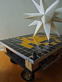 TABLE BASSE PALETTE Récup RECYCLé SPACE INVADER (11)