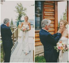 father first look. & that bouquet is gorgeous!