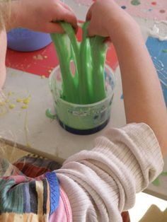 Slime - 1 part, PVA, 1 part water, 1 part liquid starch plus food dye/glitter etc