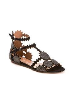 Azzedine Alaïa Flat shoes :: Azzedine Alaïa shagreen and black suede cutout sandals | Montaigne Market