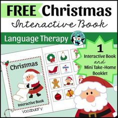 FREE Target Christmas vocabulary in language therapy or early intervention with this free interactive book! Send children home with a mini print-and-go booklet targeting the same vocabulary covered during therapy to help promote carryover.