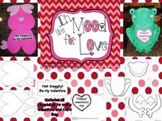 I'm in the mood for love, how about you? Here are two adorable crafts to make with your students to get in the mood for Valentine's Day. One is a puppy made of just hearts. You can use it as a Valentine's card or use one of the two writing prompts. The second craft is a sweet frog bag to collect Valentines in.