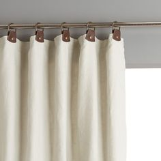 Private Single Pre-Washed Linen Curtain with Leather Tabs AM.PM Private pre-washed linen curtain with leather tabs. Simple, natural and chic, pre-washed linen softens and takes on a subtle and highly attractive. Tab Curtains, Lined Curtains, Curtains With Blinds, Plain Curtains, Curtain Panels, Curtain Inspiration, Window Sizes, Custom Drapes, Window Dressings