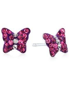 Unwritten Pink Crystal Butterfly Stud Earrings in Sterling Silver