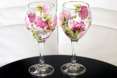 Set of 2 Hand Painted Wine Glasses Peonies Pink Flowers Hand Painted Glassware Stemware Painted Glass Custom Personalized Wine Glasses Green