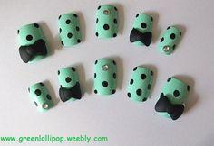 Japanese 3D Nail Art Set -Green with Black Polka Dots, Black Bows and Gemstones