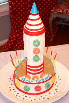 Directions for making this upright rocket cake.  Again, don't *love* the frosting job, but the concept seems doable (?)  Might use small bowl cake on top instead of the ice cream cone...