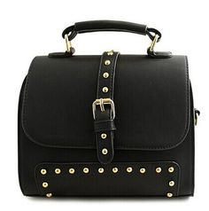 Trendy Women's Tote Bag With Rivets and Buckle Design Color: BLACK, RED Category: Bags > Women's Handbags > Tote Bags   Handbag Type: Totes  Style: Fashion  Gender: For Women  Embellishment: Rivet  Pattern Type: Solid  Handbag Size: Small(20-30cm)  Closure Type: Hasp  Interior: Interior Zipper Pocket  Occasion: Versatile  Main Material: PU  Hardness: Soft  #retrorivershoulderbag #shoulderbag #womenbag #fashionbag #bridgat.com