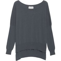 FRIENDLY HUNTING Sweat Keeping Grey Flannel // Oversize fine knit... ($370) ❤ liked on Polyvore featuring tops, sweaters, boat neck sweater, loose sweaters, oversized sweater, fine knit sweater and gray oversized sweater