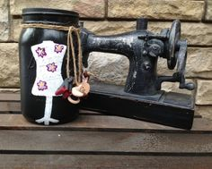 Mason Jar with a hand painted Mannequin and sculpey oven bake clay.