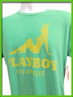 PLAYBOY BUNNY T-SHIRT Hugh Hefner Los Angeles Green Yellow Men's Tee Size Medium