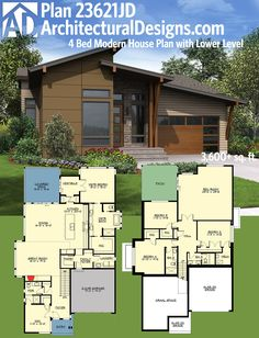 Architectural Designs Modern House Plan 23621JD. 4 beds and a finished lower level. Over 3,600 sq. ft. total. Ready when you are. Where do YOU want to build?