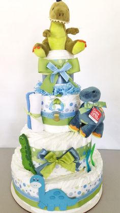 4 Tier Dinosaur Diaper Cake, Baby Shower Centerpiece by AllDiaperCakes on Etsy