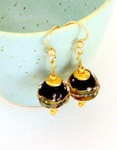 Black Beaded Earrings Artisan Lampwork Earrings by wildwomanbeads, $34.00