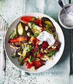 Roasted-pepper,-aubergine-and-sweet-potato-with-garlic-and-sumac-yogurt