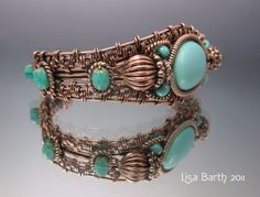 Woven Cuff in Copper and Turquoise by Lisa Barth