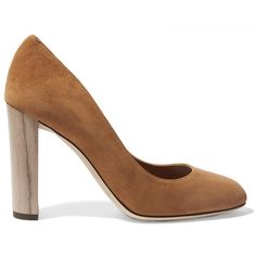 Jimmy Choo Laria suede pumps ($675) ❤ liked on Polyvore featuring shoes, pumps, brown, chunky pumps, suede shoes, brown pumps, high heel shoes и brown suede pumps