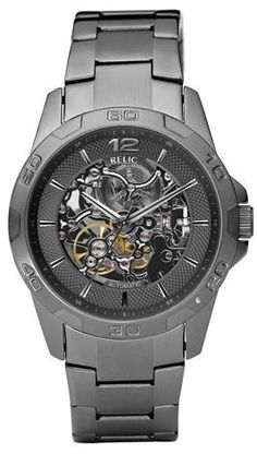 Relic by Fossil Automatic Gunmetal Skeleton Display Mens Watch ZR11853