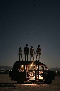 stargazing with friends on a road trip through the great outdoors