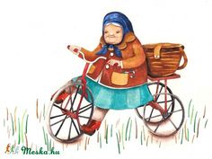 Items similar to Tricycle Grandma Children Watercolor Illustration Bike Print Nursery Art Nostalgic Quaint on Etsy Cycle Painting, Basement Painting, Naive Art, Tricycle, Watercolor Illustration, Art Techniques, Nursery Art, Painted Rocks, Folk Art