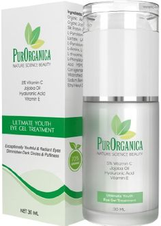 PurOrganica EYE CREAM for Wrinkles, Eye Bags, Dark Circles, Puffiness and Crow's Feet - DOUBLE SIZED 30ML - Organic Anti Ageing Cream with Vitamin C, Hyaluronic Acid, Jojoba Oil and Vitamin E - Best Natural Treatment for Women and Men. Eye Cream For Dark Circles, Best Anti Aging Creams, Crows Feet, Eye Gel, Prevent Wrinkles, Skin Cream, Natural Treatments, Jojoba Oil
