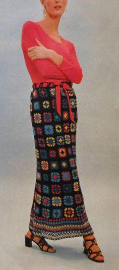 Vintage BOHO Style Long Skirt Crochet Pattern granny squares retro 1970s.  via Etsy.