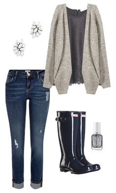 """""""Untitled #42"""" by lizzie-mg on Polyvore featuring River Island, MANGO, H&M, Hunter, Ben-Amun and Essie"""