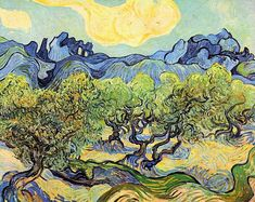 Needlepoint canvas. Landscape with Olive Trees by Vincent Van Gogh needlepoint.