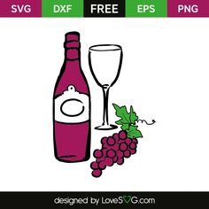 *** FREE SVG CUT FILE for Cricut, Silhouette and more *** Wine, glass and grape