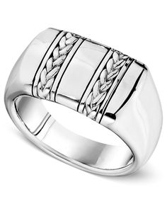 Men's Sterling Silver Ring, Braided Band