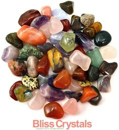"1/2 lb Medium All Natural Mixed TUMBLED STONES ""Not Dyed"" - Healing Crystals, Gemstone, Medicine Bag, Reiki, Feng Shui, Jewelry & Crafts"