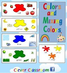 Colors and Mixing Colors Classroom Posters - PDF file8 page file designed by Clever Classroom.A great back to school or classroom organizat...