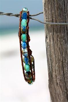 Summer Blue & Green Wrap Bracelet.