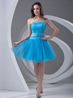 Tulle Strapless Mini/Short Beading A-line Homecoming Dress on nextdress.co.uk