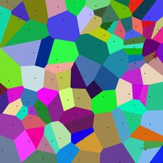 Coloured Voronoi 2D - Tessellation - A Voronoi tiling, in which the cells are always convex polygons. Mysid (SVG), Cyp (original) - Manually vectorized in Inkscape by Mysid, based on Image:Coloured Voronoi 2D.png.