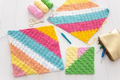 Corner to corner crochet is one of my favourite stitches as it produces unique texture and the ability to create fabulous colourwork. Stripes, pixlated pictures and geometric patterns are just some of the fun projects you can make using Crochet C2c Pattern, Crochet Chart, Crochet Basics, Hand Crochet, Crochet Hooks, Crochet Dishcloths, Crochet Blankets, Baby Blankets, Corner To Corner Crochet