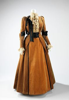 Circa 1889 silk Walking suit by House of Worth, French. Jean-Philippe Worth began as an assistant to his father, Charles Frederick Worth, in 1875. Gradually he was allowed to create his own designs and when his father died in 1895, he became the lead designer for the house. He was praised for making elaborate artistic gowns with intricate trimmings on unique textiles, much like his father had before him. Via MMA.