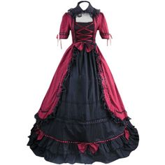 Partiss Womens Gothic Lolita Victorian Cosplay Lolita Dress Poet Long... ($90) ❤ liked on Polyvore featuring costumes, role play costumes, cosplay costumes, ladies halloween costumes, womens gothic costumes and womens gothic halloween costumes
