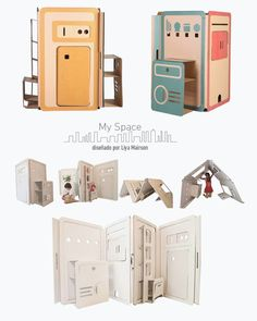 Furniture For Small Bedrooms Diy Cardboard Furniture, Cardboard Box Crafts, Cardboard Toys, Paper Toys, Kids Furniture, Furniture Plans, Waldorf Montessori, House Template, Craft Storage