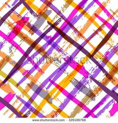 Seamless watercolor bold plaid pattern with colorful diagonal stripes. Vector hand painted background in pink, purple, orange colors. Trendy design for fashion print, holiday package and wrapping.
